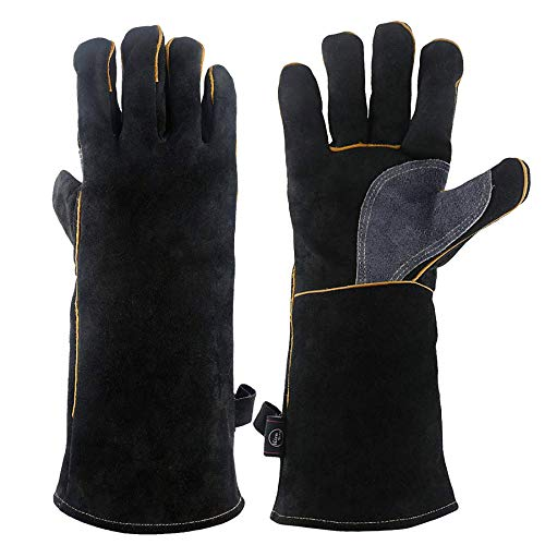 KIM YUAN Extreme Heat/Fire Resistant Gloves Leather with Kevlar Stitching, Mitts Perfect for...