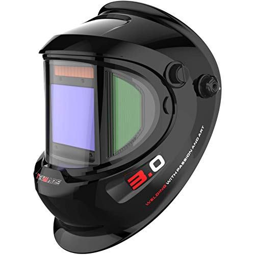 TEKWARE Large Viewing True Color Solar Powered Auto Darkening Welding Helmet with SIDE VIEW, 4 Arc...