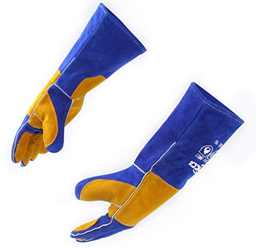 RAPICCA 16 Inches,932℉, Leather Forge/Mig/Stick Welding Gloves Heat/Fire Resistant, Mitts for...