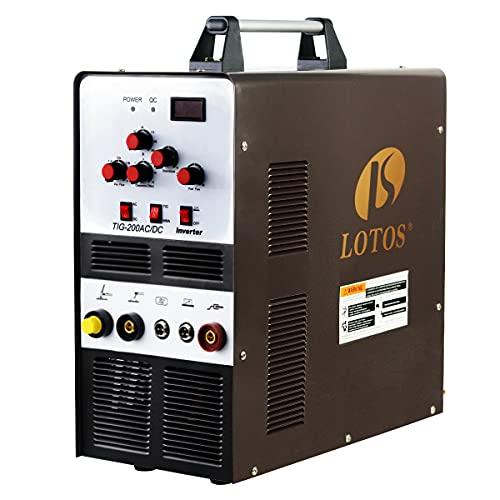 Lotos 200A AC/DC Aluminum TIG/STICK ARC Welder, Square Wave Inverter, 110/220V Dual Voltage, Brown