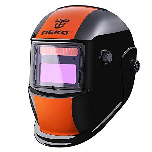 DEKOPRO Welding Helmet Solar Powered Auto Darkening Hood with Adjustable Shade Range 4/9-13 for Mig...