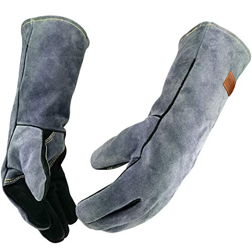 WZQH 16 Inches,932℉,Leather Forge Welding Gloves, with Kevlar Stitching Heat/Fire Resistant,Mitts...