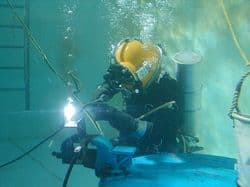 image of a commercial diver in the academy