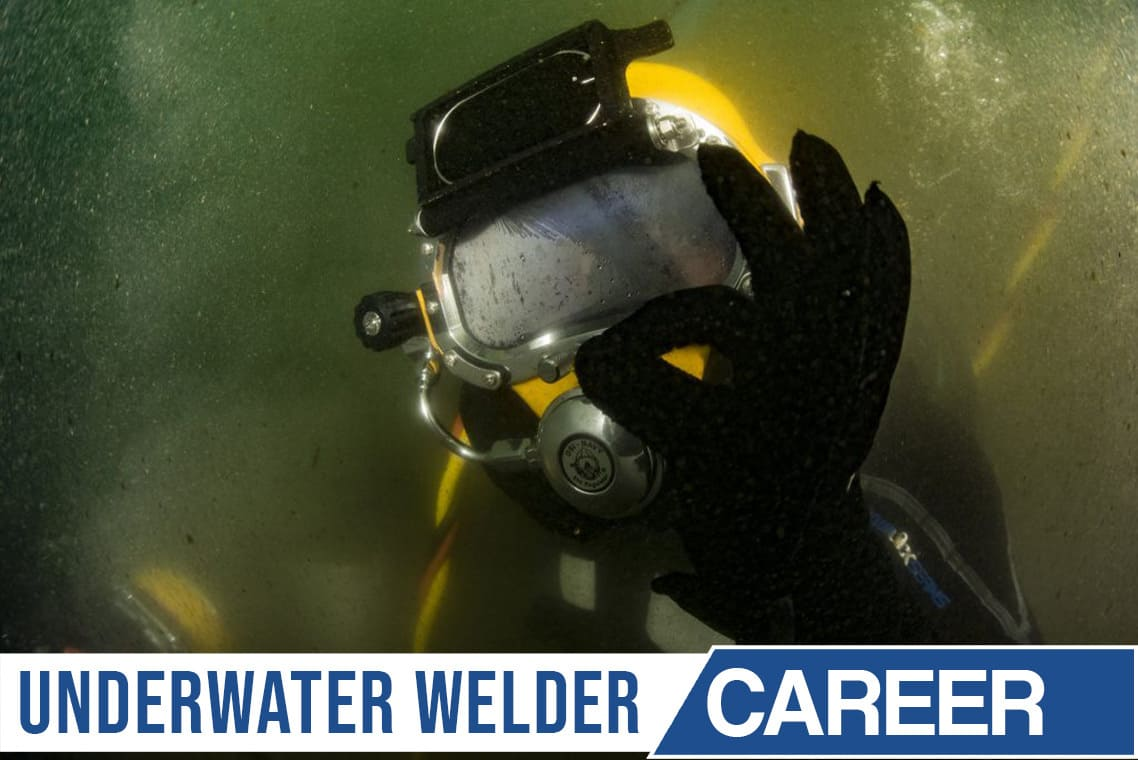 Image of a welder under water