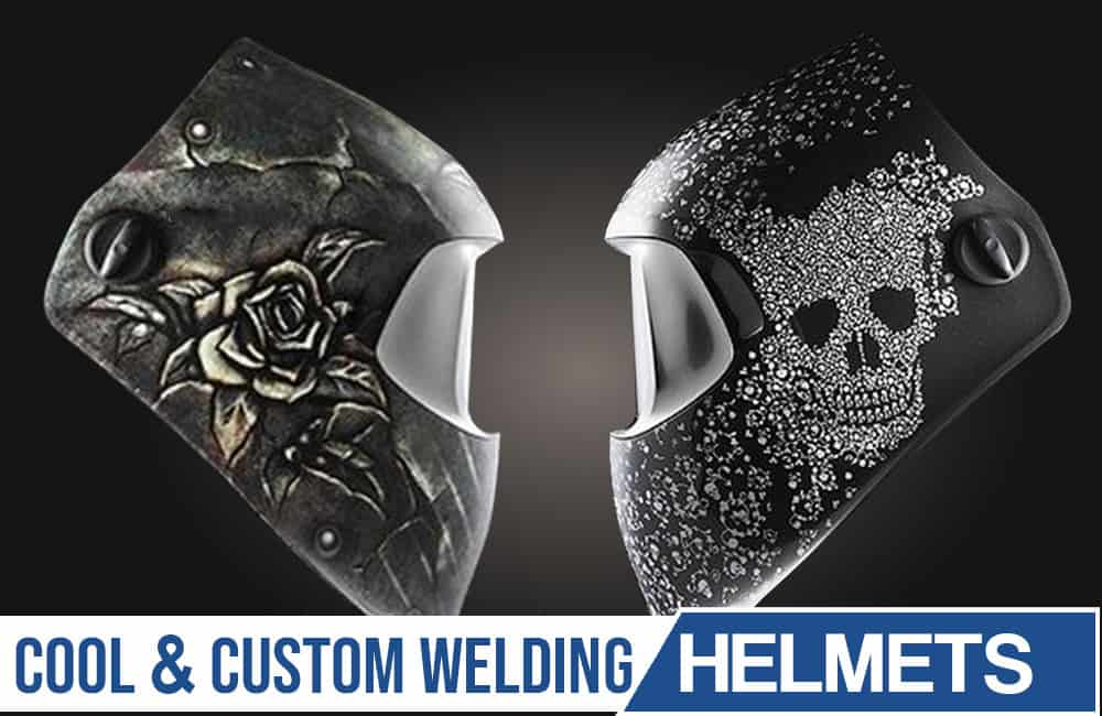 Image of two welder masks