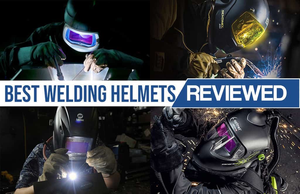 image of various welding helmets used on job