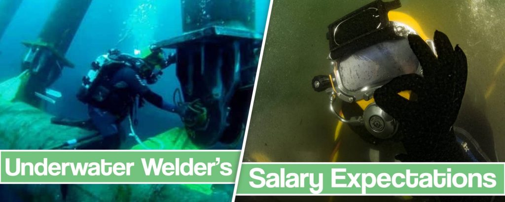"""Image of a welder doing """"ok"""" sign under water"""