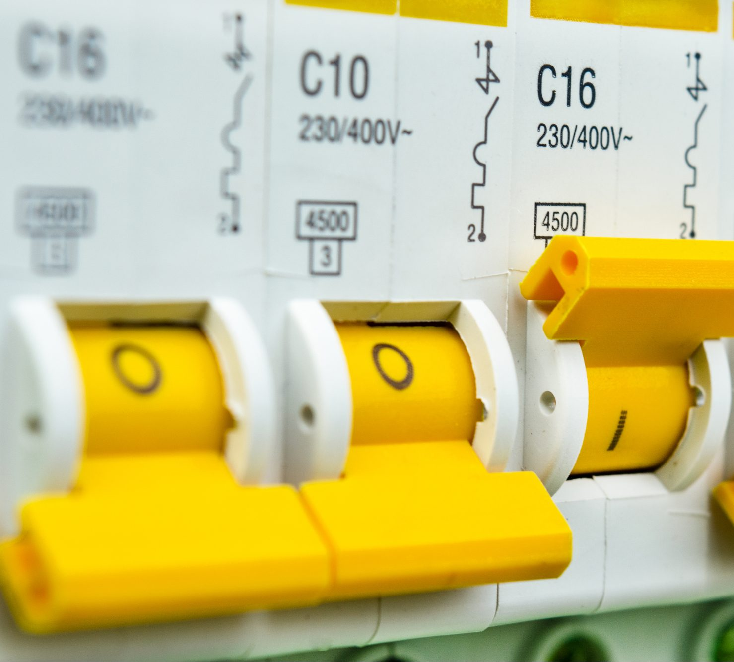circuit breakers close-up with the button turned on
