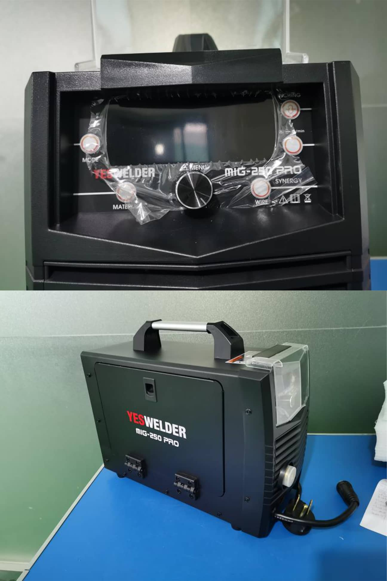 YesWelder MIG PRo 250A side and front panel