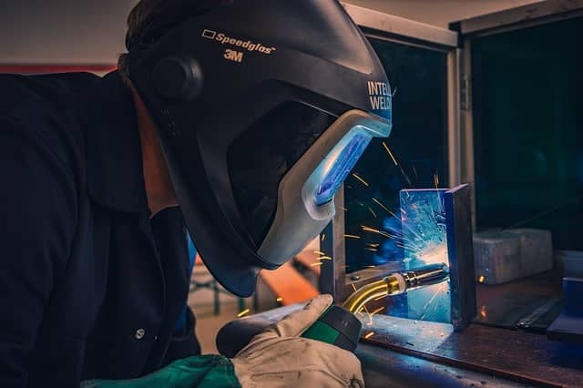 image of a worker doing a vertical position weld