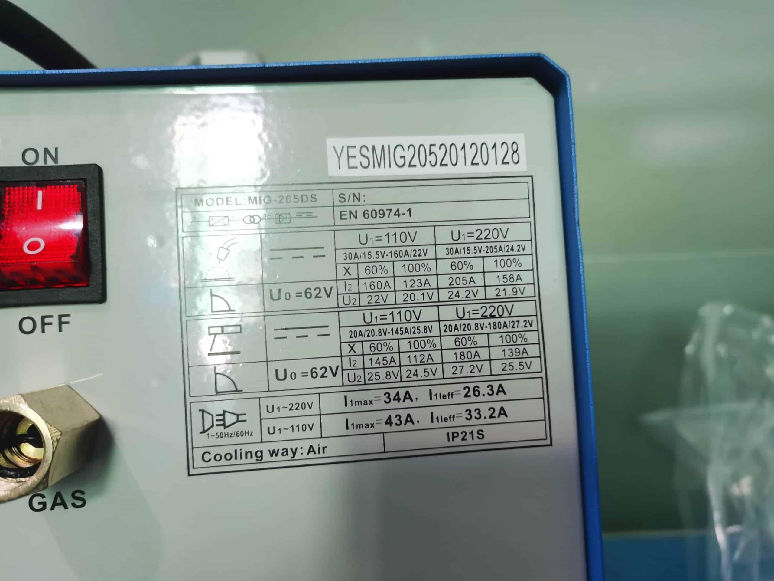 Backside chart YesWelder MIG 205DS