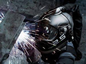 Overhead MIG welding with optrel VegaView 2.5 welding helmet.