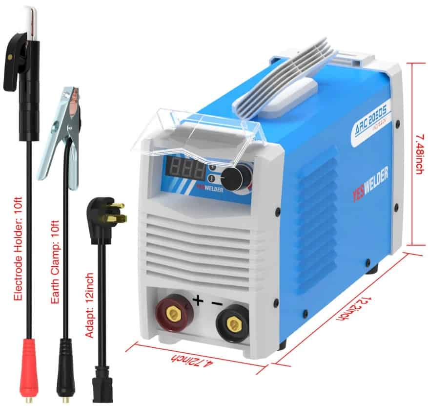 image of the arc welder 205DS with leads and dimensions