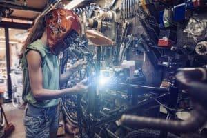 Girl doing TIG welding with 120v welder