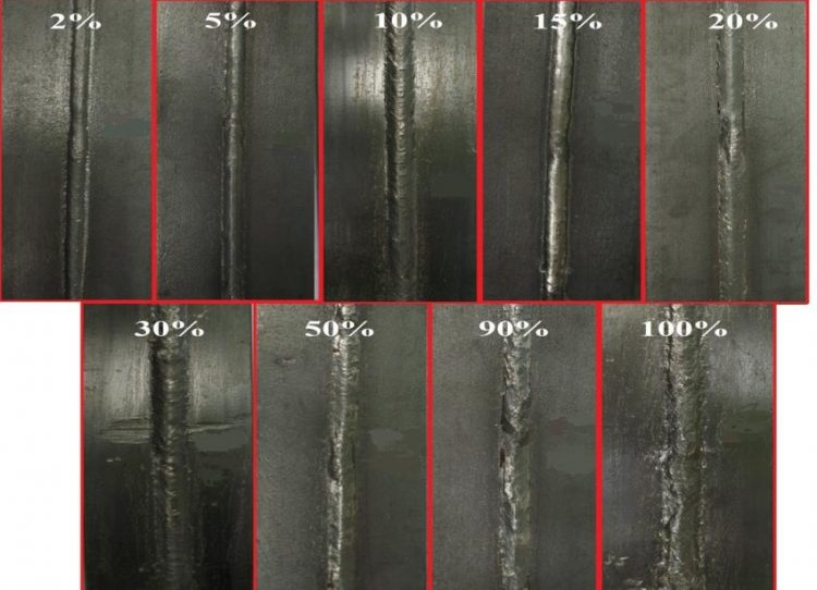 Weld bead appearance with different levels of CO2