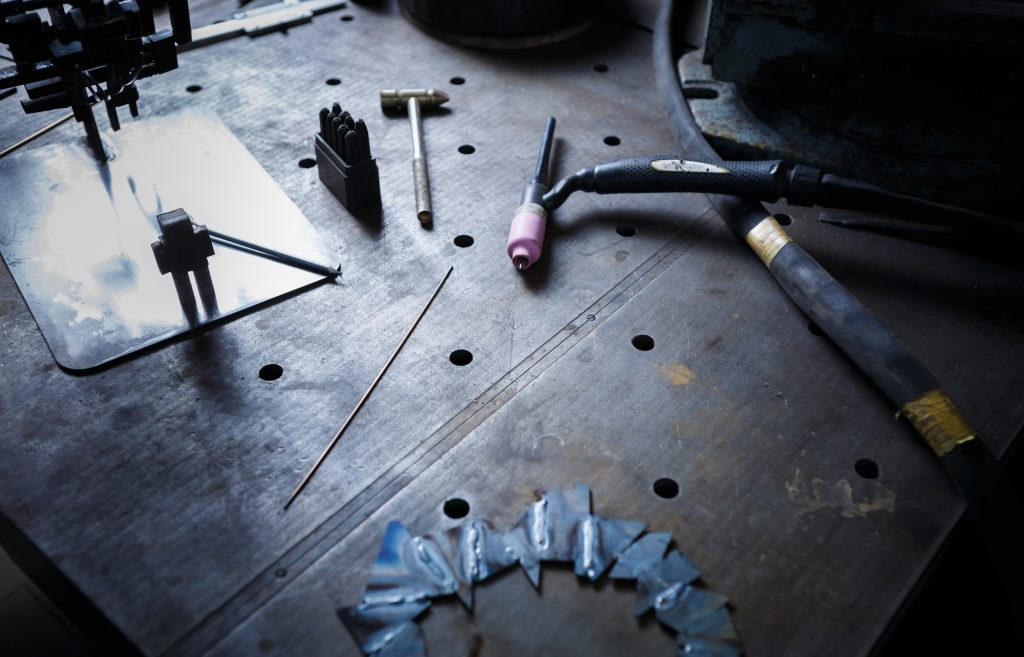 image of welding table at work