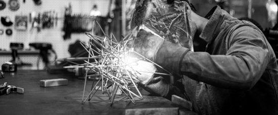 image of white metals welding