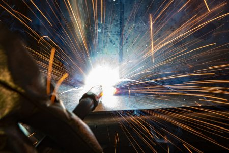 image of excessive weld spatter arc weld troubleshooting