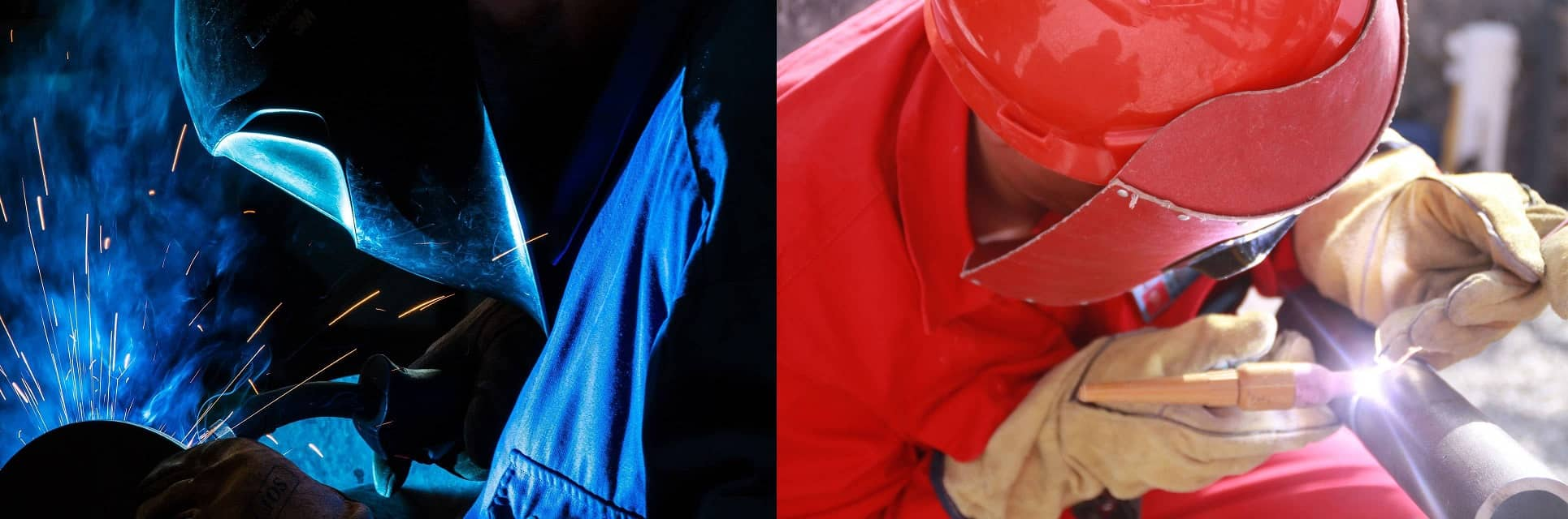 image showing two different welding helmets