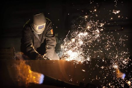 sparks created during welding