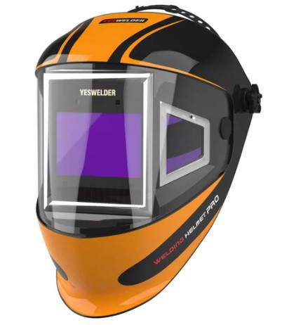image of a welding helmet with side view port