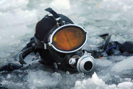 underwater welder in ice water